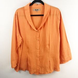 Flax Orange Button Front Linen Blouse